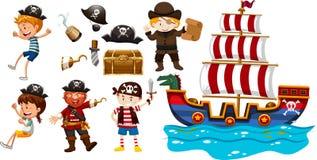 Bambini e nave di vichingo illustrazione vettoriale