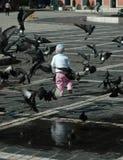 Bambini e piccioni Immagini Stock