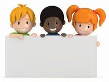 Bambini e scheda in bianco Immagine Stock Libera da Diritti