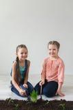 Bambini e simbolo della giornata per la Terra nella stanza bianca Fotografia Stock