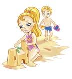 Bambini e spiaggia Fotografia Stock