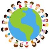 Bambini e terra del pianeta illustrazione di stock