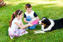 Bambini e un cane Fotografia Stock