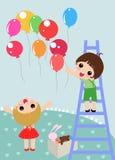 Bambini ed aerostati royalty illustrazione gratis