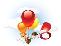 Bambini ed aerostato Illustrazione di Stock