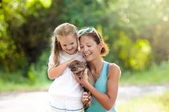 Bambini ed animali da allevamento Bambino con il maiale del bambino allo zoo Fotografia Stock Libera da Diritti