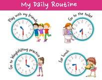 Bambini ed attività differenti per la routine quotidiana illustrazione vettoriale