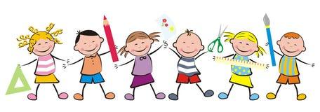Bambini ed attrezzature di scuola Fotografia Stock Libera da Diritti