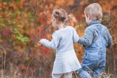 Bambini felici all'aperto alla stagione di caduta, tenentesi per mano Ha data Immagini Stock