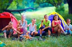Bambini felici che arrostiscono le caramelle gommosa e molle su fuoco di accampamento Immagini Stock Libere da Diritti