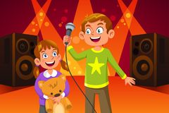 Bambini felici che cantano illustrazione Fotografie Stock Libere da Diritti