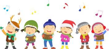 Bambini felici che cantano le canzoni di Natale illustrazione di stock