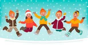 Bambini felici che saltano su un fondo di inverno Illustrazione di vettore royalty illustrazione gratis