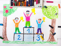 Bambini felici che stanno sul podio del vincitore illustrazione di stock
