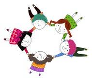 Bambini felici che tengono mano per pace Fotografia Stock Libera da Diritti
