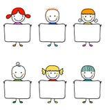 Bambini felici con le insegne Fotografia Stock