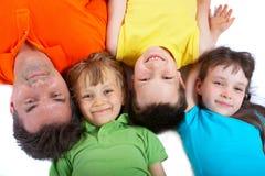 Bambini felici con lo zio   Fotografia Stock Libera da Diritti