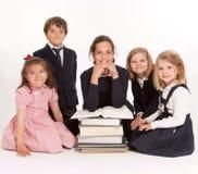 Bambini felici del banco fotografia stock libera da diritti