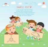 Bambini felici del fumetto, bambini che giocano, gioco del bambino e stile di vita, bambino felice, illustrazione di vettore, bam Fotografia Stock Libera da Diritti