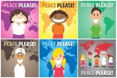Bambini felici del mondo che chiedono per favore la pace Immagine Stock