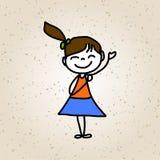 Bambini felici del personaggio dei cartoni animati del disegno della mano Fotografia Stock Libera da Diritti