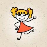 Bambini felici del personaggio dei cartoni animati del disegno della mano Fotografie Stock Libere da Diritti