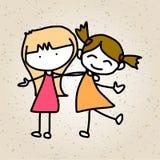 Bambini felici dell'estratto del fumetto del disegno della mano Fotografia Stock Libera da Diritti