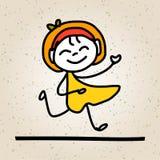 Bambini felici dell'estratto del fumetto del disegno della mano Fotografie Stock Libere da Diritti