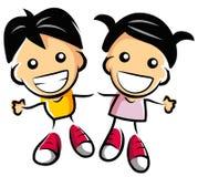 Bambini felici delle coppie Immagini Stock