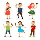 Bambini felici di estate che mangiano il gelato illustrazione di stock