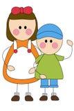 Bambini felici ragazzo e ragazza Royalty Illustrazione gratis