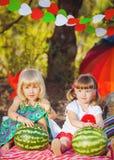 Bambini felici svegli che giocano in primavera archivata Immagine Stock