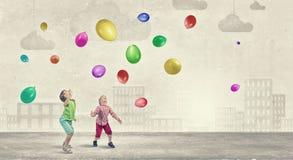 Bambini felici trascurati Fotografie Stock Libere da Diritti