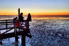 Bambini a gioco, mudflats, tramonto immagini stock