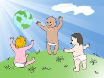 Bambini globali felici. Ed egualmente comprende l'ENV 8 Immagini Stock Libere da Diritti