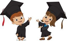Bambini graduati felici Fotografia Stock