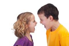 Bambini infuriarsi - isolati Immagine Stock