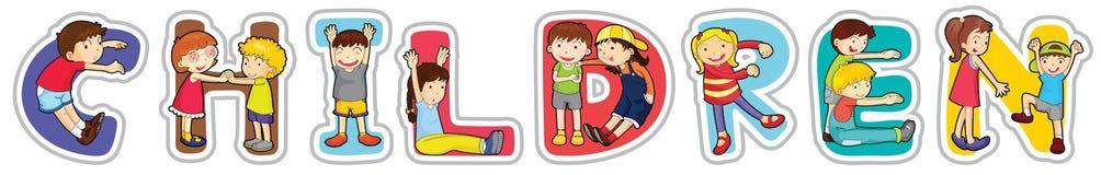 Bambini inglesi di parola Immagini Stock
