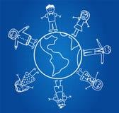 Bambini intorno al globo Immagini Stock Libere da Diritti