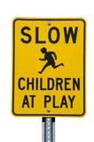 Bambini lenti al segno del gioco Immagine Stock