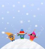 Bambini multiculturali della neve Fotografia Stock
