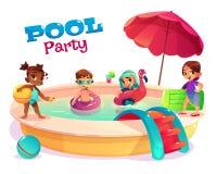 Bambini multietnici che nuotano nel vettore del cartone dello stagno illustrazione vettoriale