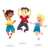 Bambini multirazziali della scuola felice allegro che saltano e che ridono isolati su fondo bianco Concetto di felicità, divertim illustrazione vettoriale