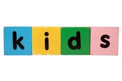 Bambini nei blocchetti del giocattolo Immagini Stock