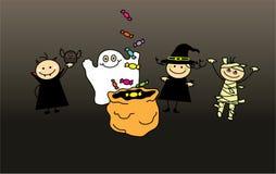 Bambini nei vestiti di Halloween ed in borsa delle caramelle Illustrazione di Stock
