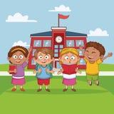 Bambini nel fumetto della scuola illustrazione di stock
