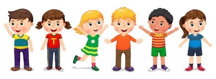 Bambini nel vettore di posizioni differente royalty illustrazione gratis