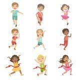 Bambini nell'insieme corrente della concorrenza illustrazione vettoriale