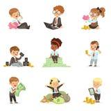 Bambini nell'insieme finanziario di affari dei ragazzi svegli e delle ragazze che lavorano come fondi Dealing With Big dell'uomo  Illustrazione di Stock