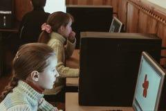 Bambini nella classe del computer Fotografie Stock